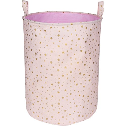 LuxCoco Blush Pink Storage Basket / Laundry Hamper with Shimmery Gold Star Pattern | 19.6 Large Waterproof Collapsible Cotton Canvas Bin with Handles | Baby Kids Nursery Toy Clothes Book Organizer