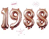 1988 Rose Gold 32 Inch Huge Giant Number Balloons Foil Mylar Number Balloons