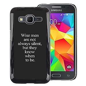 A-type Arte & diseño plástico duro Fundas Cover Cubre Hard Case Cover para Samsung Galaxy Core Prime (Wise Me Grey Text Inspiring Smart Deep)