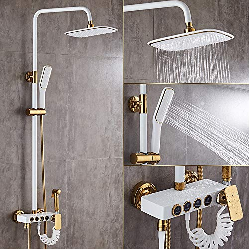 Hlluya Professional Sink Mixer Tap Kitchen Faucet The White Version The Whole Copper Shower Set Full Brass faucets Bathroom rain Shower Sprinkler Retro Shower