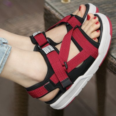 Xing Lin Ladies Sandals Sandals Student Shoes Lady Lovers Summer Casual Shoes Outdoor Sneakers, 39,1006 Red Gray