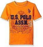 U.S. Polo Assn. Boys' Crew Neck Iconic Graphic Logo T-Shirt,Orange Heather H4GS010OEV1,2T