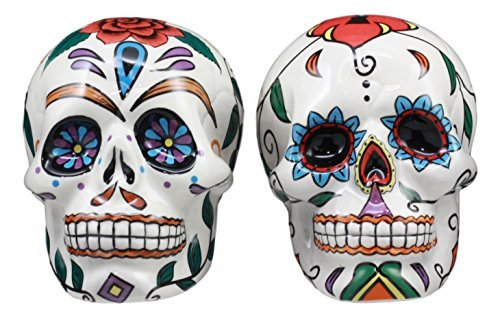 Ebros Love Never Dies Day Of The Dead Sugar Skulls Salt And Pepper Shakers Set Ceramic Earthenware Kitchen Decor