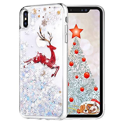 Maxdara Christmas Case for iPhone Xs Max, Merry Christmas Giraffe Elk Pattern Glitter Liquid Bling Sparkle Pretty Cute Case for Girls Children Women Gifts Xs Max Christmas Case 6.5 inch(Giraffe)