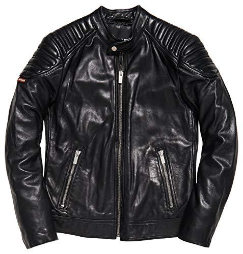 Superdry Men's Leather Jacket, Black, X-Large (Superdry Mens Leather Jacket)