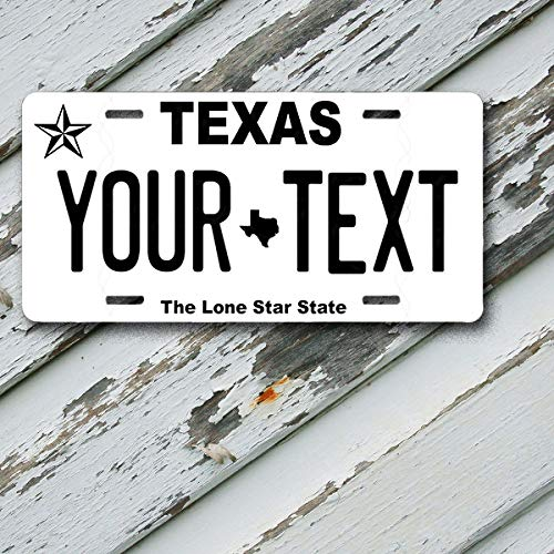 License Plate Texas Wave 2 Lone Star State Customizable 6 x 12 Aluminum Vanity License Plate