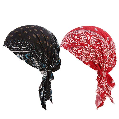 Scarf Fashion Tied (Wcysin 2 Pack Women Cotton Bandana Scarf Pre Tied Chemo Hat Beanie Turban Headwear for Cancer Patients Ladies Turbante (C))
