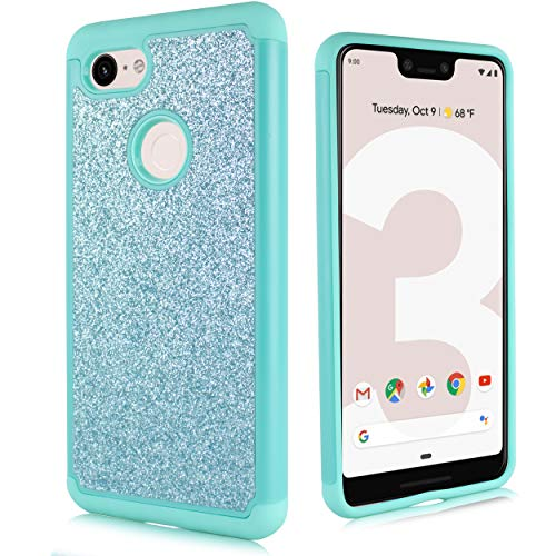 Compatible fit Google Pixel 3 [2018 Release] Cute Glitter Bling Sparkle Dual Layer Protective Hybrid Shockproof Case Includes [HD Screen Protector & Free Emoji!] for Pixel 3 (NOT fit XL) (Teal)