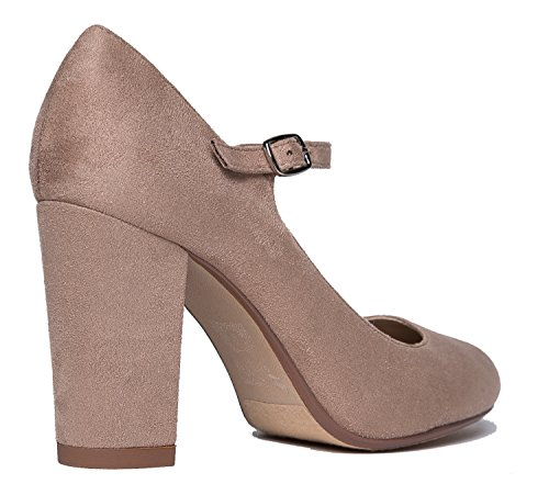 Suede Toe Adams Chunky Round Heels Cute Pumps Mary Taupe J Skippy Jane Light Block Comfortable gY6dpYwq