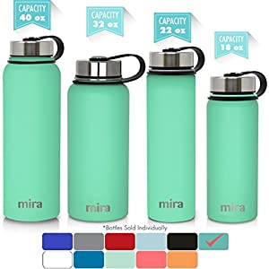 MIRA 22 Oz Stainless Steel Vacuum Insulated Wide Mouth Water Bottle with 2 Caps | Thermos Keeps Cold for 24 hours, Hot for 12 hours | Double Walled Powder Coated Travel Flask | Teal