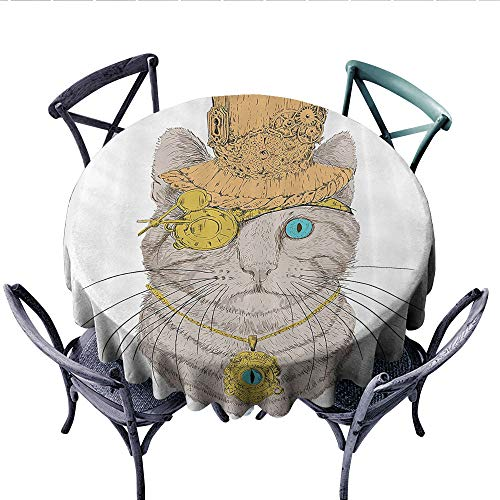 Cat Lover Decor Customized Round Tablecloth Cute Punk Pirate Cat with Eye Collar Gothic Medieval Kitty Vintage Design Waterproof Circle Tablecloths (Round, 36 Inch, Orange - Gingham Collar Kitty