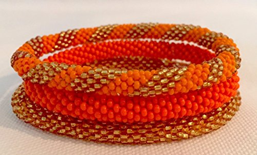 Golden and Pumpkin Orange Spiral Crocheted Seed Beads Bracelet Set, Handmade in Nepal, Roll_in