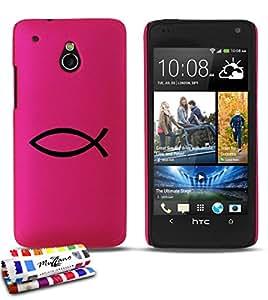 Carcasa Rigida Ultra-Slim HTC ONE MINI de exclusivo motivo [Ichtus símbolo] [Rosa caramelo] de MUZZANO  + ESTILETE y PAÑO MUZZANO REGALADOS - La Protección Antigolpes ULTIMA, ELEGANTE Y DURADERA para su HTC ONE MINI