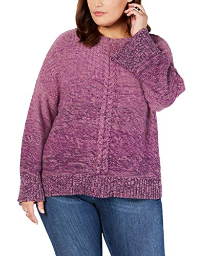 Style & Co. Plus Size Braided-Trim Marled Sweater (Dark Grape, 2X)