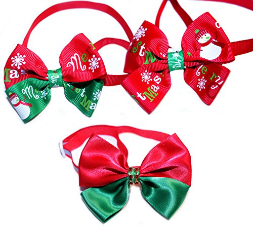Set of 3 Pet Christmas Bow Ties with Adjustable Collar for Dogs and Cats - Neck Size: 9