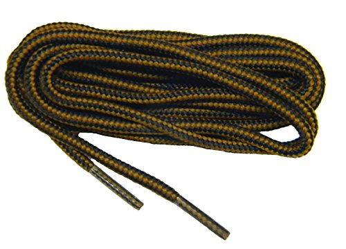 Sport28 2 Pair Pack - 54 Inch Chestnut Brown-Black Professional proBOOT Heavy Duty Round 1/8 Thick Rugged Wear Boot Laces Long Lasting Shoelaces