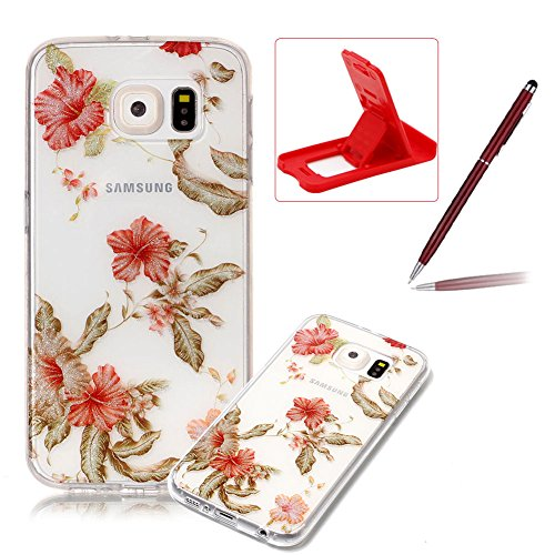 Glitter Clear Case for Samsung Galaxy S6,Crystal TPU Cover for Samsung Galaxy S6,Herzzer Ultra Slim Creative [Azalea Pattern] Bling Sparkly IMD Design Shock-Absorbing Soft Silicone Gel Bumper Cover Flexible TPU Transparent Skin Protective Case for Samsung Galaxy S6 + 1 x Free Red Cellphone Kickstand + 1 x Free Claret-Red Stylus Pen