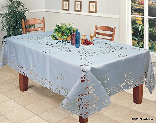 "Creative Linens Embroidered Floral Tablecloth 70x120"" Rectangular With 12 Napkins White"