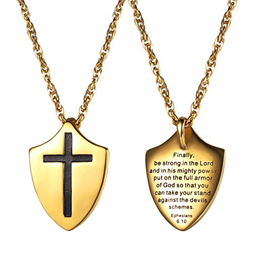Put On The Full Armor of God Shield Necklace,Pendant,Catholic,Christian Jewelry,Bible Verse Ephesians 6:10,Religious Gift for Men or Women