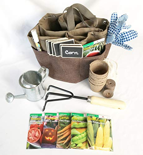 Complete Garden Set for Kids Adults & Teens Equipped with Garden Tote Gloves Hand Cultivator Seed Packets Peat Soil Pellets and Pots Watering Tin Chalk Tags and Pen l Burpee Fruits & Vegetables