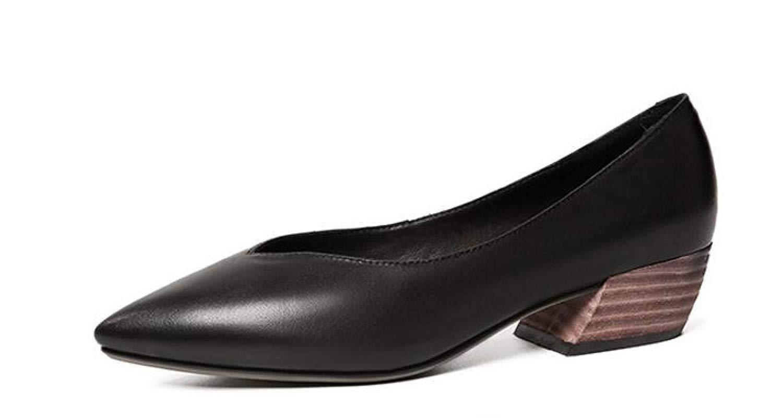 Willsego Retro V-Port Loafers flachen Mund Mund flachen Flache Schuhe Schwangere Schuhe (Farbe : Schwarz, Größe : 34) Schwarz a710d5