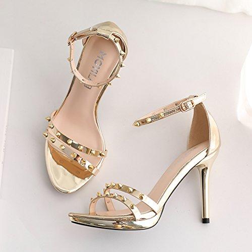 Oro Zapatos Mujeres De Tacón De La Con Impermeable En Remaches Con Verano Sandalias El Palabra Bellas Único El Rocío De Plata GAOLIM qOgxn1FF