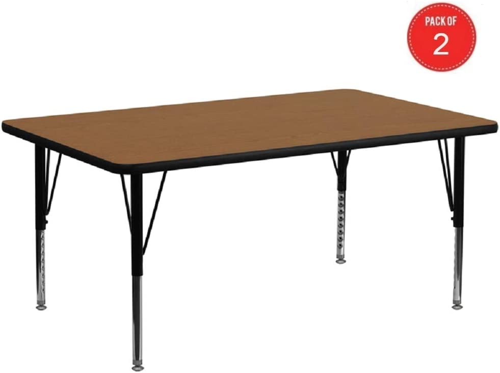 Flash Furniture 30W x 72L Rectangular Oak Thermal Laminate Activity Table Height Adjustable Short Legs pack of 2