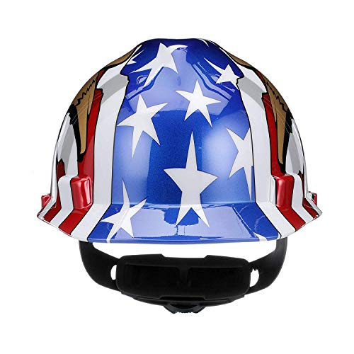 MSA 10052947 V-Gard Hard Hat Front Brim with Ratchet Suspension, Standard, American Flag w/ 2 Eagles (36 Pack) by ISP by MSA (Image #2)