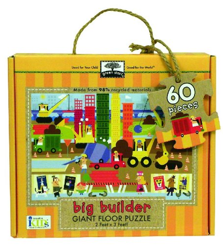 Green Start Giant Floor Puzzle  Big Builder  60 Piece Floor Puzzles Made Of 98  Recycled Materials