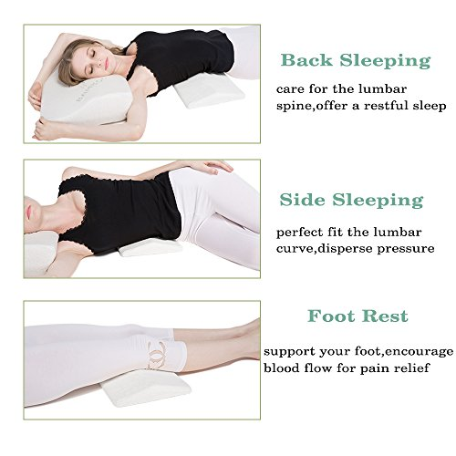 upgraded lumbar pillow bed back support sleeping pillow. Black Bedroom Furniture Sets. Home Design Ideas