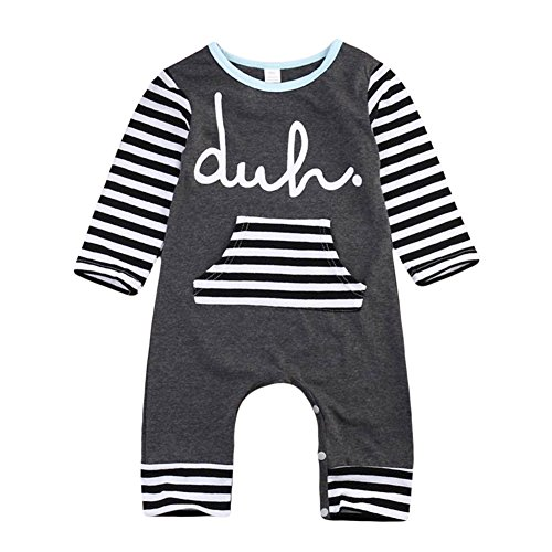 MIOIM Unisex Kids Baby Boy Girl Stripes Printed Romper Bodysuit Outfits