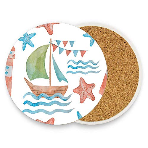 keyishangmaoLu Sea Theme Watercolor Ships Lighthouse Starfish Coaster Ceramic Cork Trivet Heat Resistant Hot Pads Table Cup Mat Coaster 1 Piece
