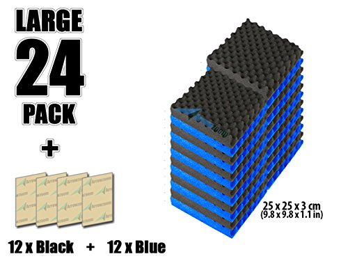arrowzoom-new-24-pack-of-blue-black-98-in-x-98-in-x-11-in-soundproofing-insulation-egg-crate-acousti