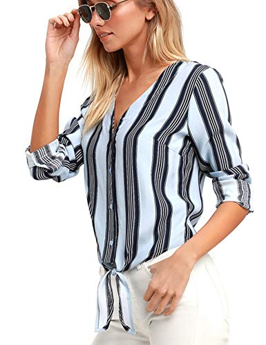 (Stripes Tie Knot Button Down Shirts Women Long Sleeve Casual Tops Sexy V Neck Light Blue)