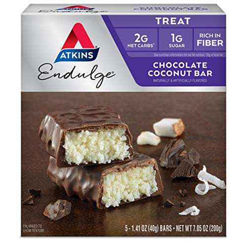 Atkins Endulge Treat, Chocolate Coconut Bar, Keto Friendly, 5 Count