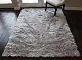 Furry Fluffy Fuzzy Soft Solid Faux Fur Sheepskin Lambskin Sheep Hide Animal Skin Living Room Bedroom Nursery Room Floor Rug Carpet Area Rug Indoor Silver 5×7 (Fur Shaggy Silver) For Sale