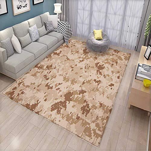 Finder Camo - Camo Bath Mats Carpet US Marine Desert Marpat Digital Texture Background in Brown Colors Door Mats for Inside Non Slip Backing Brown Pale Brown Cinnamon