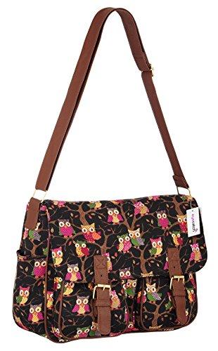 Womens Canvas Satchel Owl Messenger Shoulder Bag