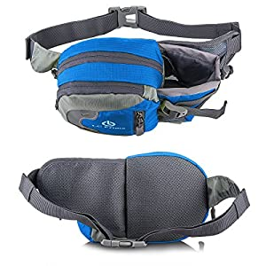 LC Prime® Waist Pack Running Bag Running Belt Runners Belt Bum Bag Fanny Pack Drink Pouch Chest Bag Sling Sports Water Resistant with Water Bottle (Not Included) Holder Drink Pouch for Hiking Cycling Camping Jogging Travel nylon fabric blue 1
