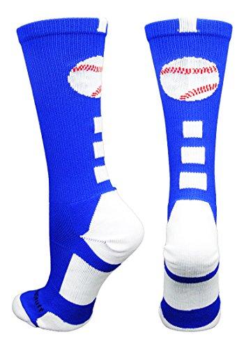 MadSportsStuff Baseball Logo Crew Socks (Royal/White, (13 Team Logo Ankle Socks)