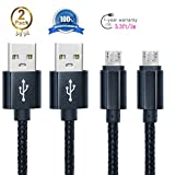 Hankuke Android Charging, Multi Length and Color Sturdy Nylon Fabric Braided High Speed Data Sync USB to Micro USB Cable, Black