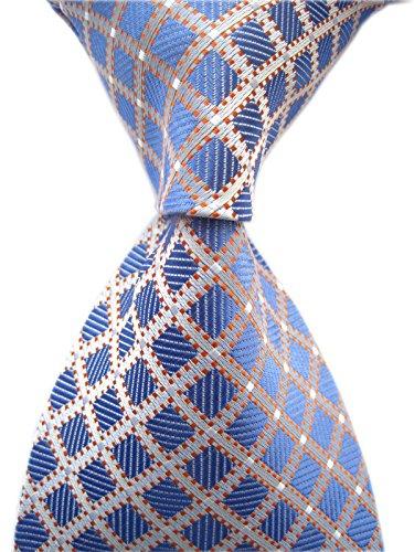 Secdtie Men's Classic Checks Light Blue White Jacquard Woven Silk Tie Necktie -