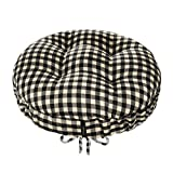 Checkers Black & White/Cream Round Barstool Cushion with Drawstring Yoke - Size Standard - Latex Foam Fill Bar Stool Pad (Black/Ivory, Checkered)