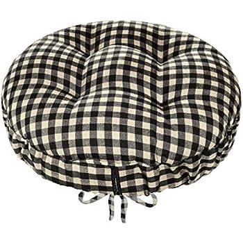 13  Round Barstool Cushion with Adjustable Drawstring Yoke - Checkers Black u0026 White 1/  sc 1 st  Amazon.com & Amazon.com: 13