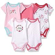 Luvable Friends Baby Infant 5 Pack Bodysuits, Floral, 9M(6-9 Months)