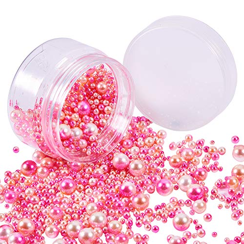 PH PandaHall About 1520 Pieces 6 Sizes No Holes/Undrilled Imitated Pearl Beads for Vase Fillers, Wedding, Party, Home Decoration, Hot Pink (3mm, 4mm, 5mm, 6mm, 8mm, ()