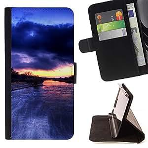 For Sony Xperia M5 E5603 E5606 E5653 Case , Río Amazonas Lluvia Nubes Naturaleza- la tarjeta de Crédito Slots PU Funda de cuero Monedero caso cubierta de piel