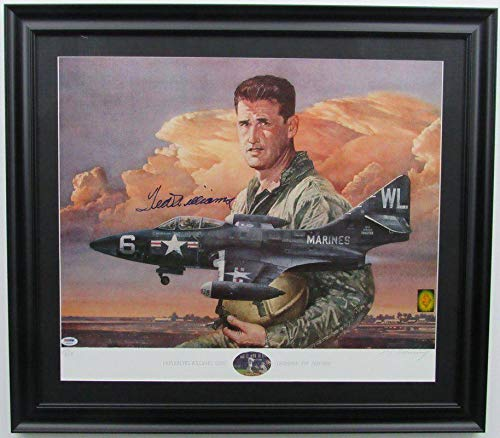 Ted Williams USMC Signed/Framed 18x23 Color Lithograph 139978 - PSA/DNA Certified - Autographed MLB Art