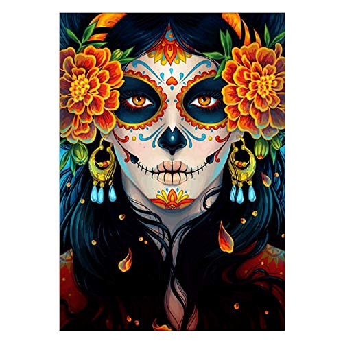 Diy Oil Painting Numbers Kit,Halloween Flower Skull Woman -