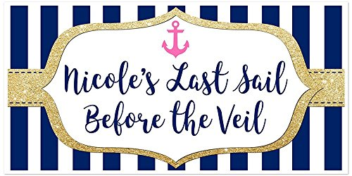 (Last Sail Before the Veil Anchor Gold Sparkle Personalized Banner)